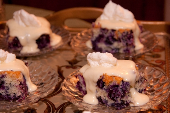 Blueberry Cake with Vanilla Custard Drizzle