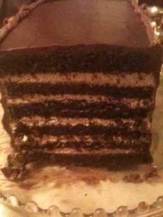 chocolate mocha torte with mocha cream filling and chocolate ganache frosting front view