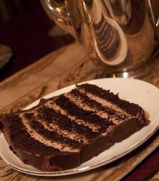chocolate mocha torte with mocha cream filling and chocolate ganache frosting