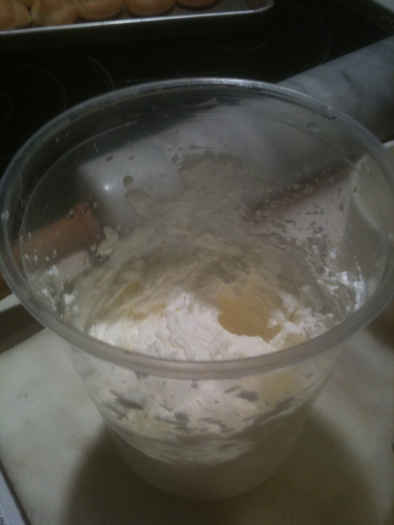 Whipped cream in deep plastic container