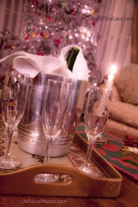 Champagne tray by the Christmas Tree Photo by LifeForcePhotos for BakeThisCake