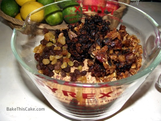 Combining almonds with fruits for Lady Baltimore Cake frosting by BakeThisCake