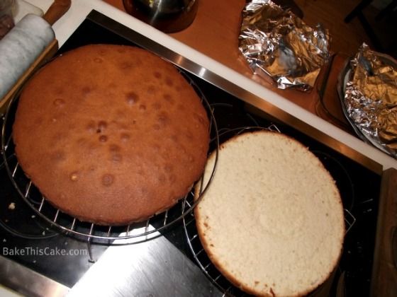 Lady Baltimore Cakes sliced and cooling by BakeThisCake