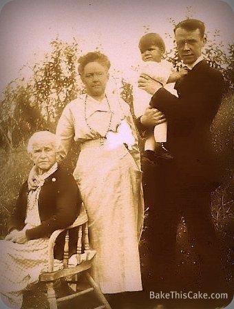 Margaret E Bowes standing Ethel Elizabeth Betty baby Joseph Thomas Bowes holding baby Marie Keeney Goldthorpe seated photo of Margaret May Goldthorpe Odell