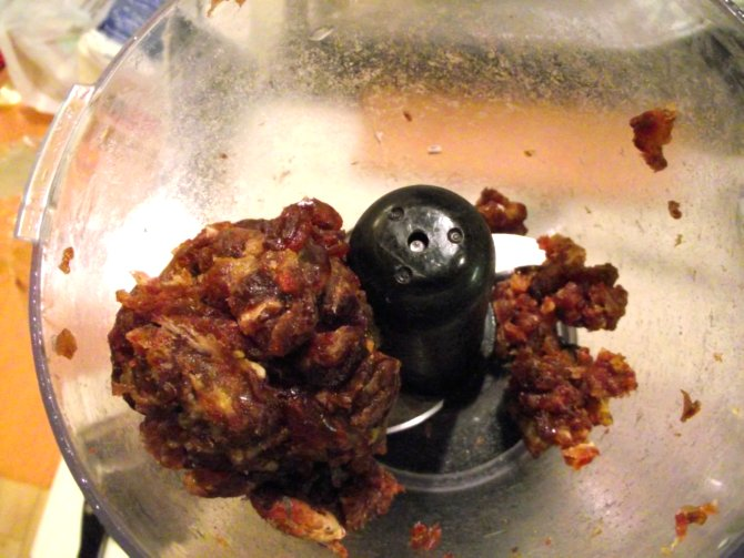 Pureed dates in food processor for Prairie Cakes filling