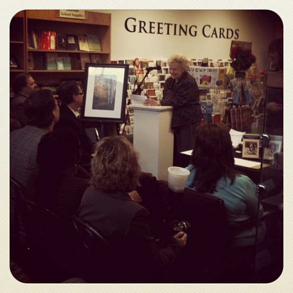 Viola Geary Odell speaking at her book signing for While Wandering book instagram photo by Leslie Macchiarella
