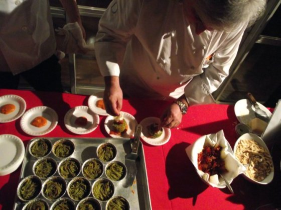 Chef Enoteca prepares baked pasta at NutrItaly event in Westwood