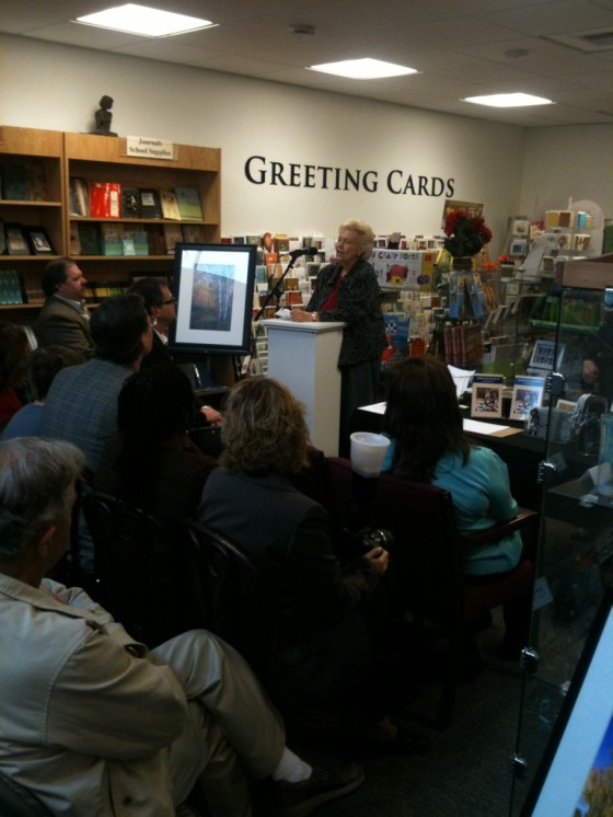 Viola Geary Odell speaking at her book signing for While Wandering book iphone photo by Leslie Macchiarella