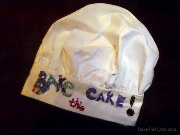 Bake This Cake chef hat stitched by Lindsey for Bake This Cake