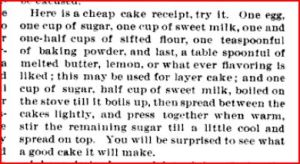 Cheap Cake recipe from Locomotive firemen's magazine 1888 Vol 12 July p 510