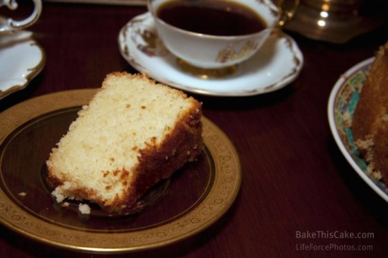Abe Lincoln Vanilla Almond Cake slice with coffee LifeForcePhotos for Bake This Cake