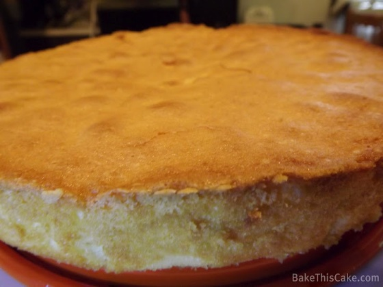 Buttermilk Cake Cooling on an Orange Plate BakeThisCake