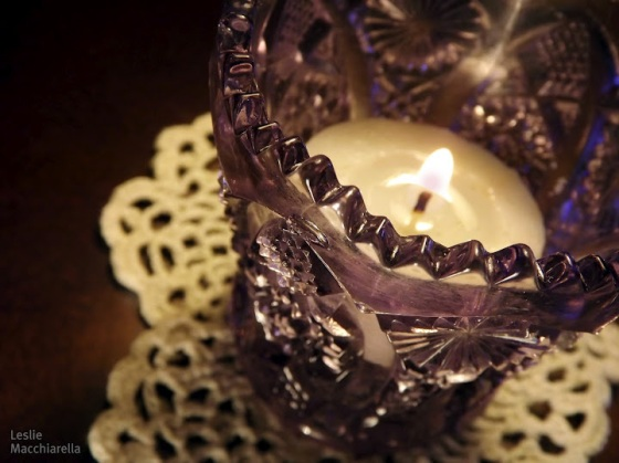 Purple Cut Glass Candle holder photo by Leslie Macchiarella for Bake This Cake
