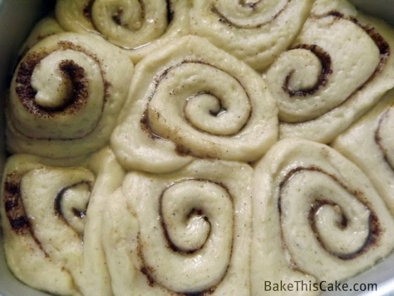 Butter Cinnamon Rolls rising close up Bake This Cake
