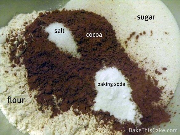 Dry Ingredients for Vintage Chocolate Crazy Cake2  BakeThisCake