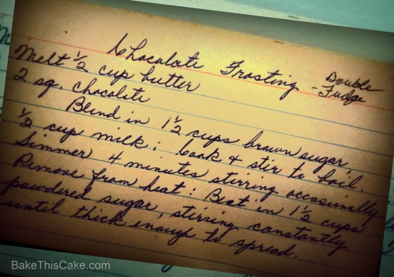 Recipe card for Double Fudge Chocolate Frosting Bake This Cake