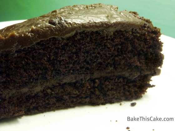 Slice of Chocolate Crazy Cake on white plate  by Bake This Cake