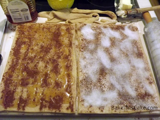 Spreading Dough with Cinnamon Sugar and honey Bake This Cake