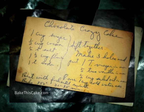 Vintage Chocolate Crazy Cake Recipe Card Bake This Cake