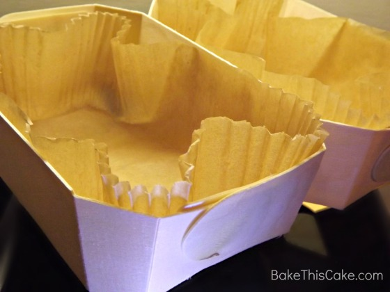 Bake and Give Wood Pans with paper liners #Bake This #Cake