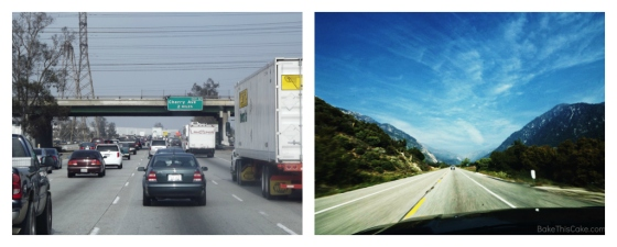 LA Traffic to San Bernarndino Mountains Collage BakeThisCake