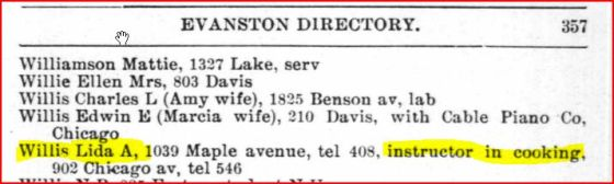 Lida Ames Willis in Evanston Illinois 1898 City Directory as cooking instructor