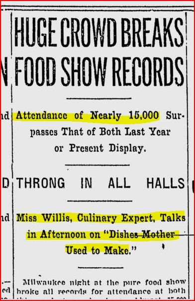 Milwaukee Sentinel article on Miss Willis lecture 5-5-1911
