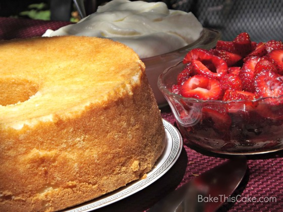 Snow #Cake on patio table with Berries and Cream #Bake This Cake