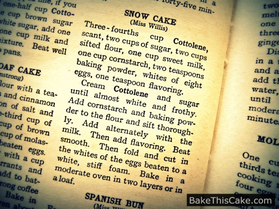 Snow #Cake #Recipe of Miss Willis from Home Helps #Bake This Cake