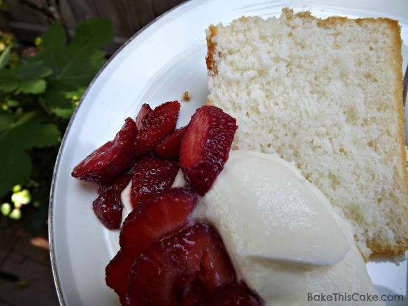 Snow Cake slice with strawberries and cream BakeThisCake