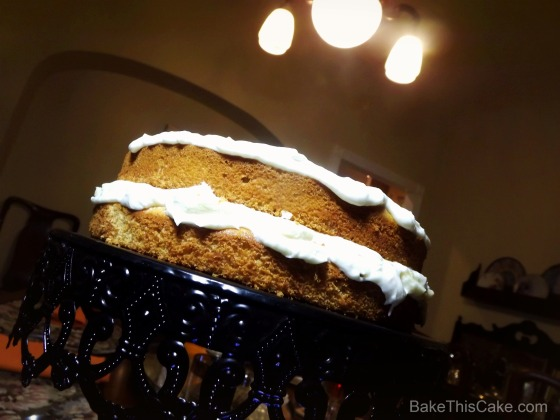 Banana Layer Cake #recipe with Vintage Ceiling Light BakeThisCake
