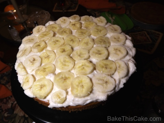 Banana Slices  in center of Banana Layer Cake BakeThisCake