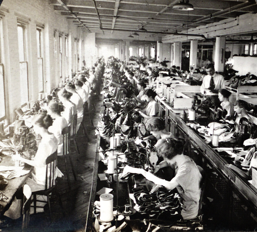 Sewing Room Shoe Factory Syracuse public domain photo