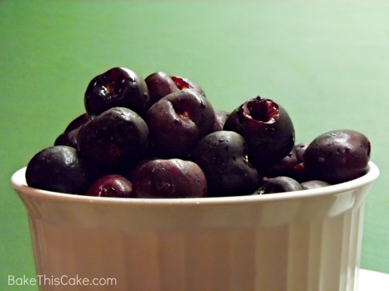 White Bowl of Dark Sweet Pitted Cherries Bake This Cake