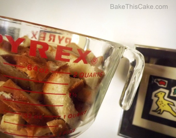 Bread Crusts Measured in 2 Quart Bowl with artwork Bake This Cake