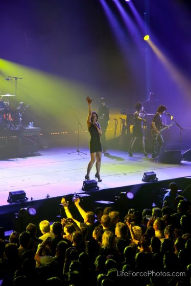 Carmel Helene on Stage w Johhny Halladay in France photo by LifeForcePhotos