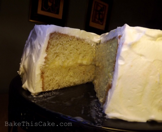 Orange Lemon Cake Cutaway of Whole Cake Side Angle Bake This Cake