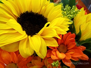 Sunflower and orange daisies BakeThisCake