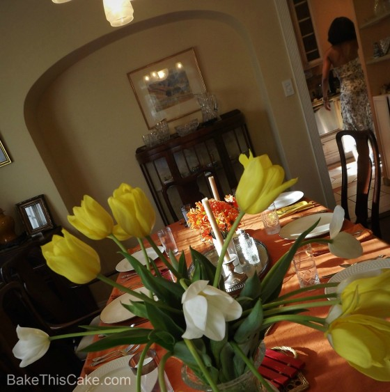 Yellow and White Tulips on the Dining Table Bake This Cake