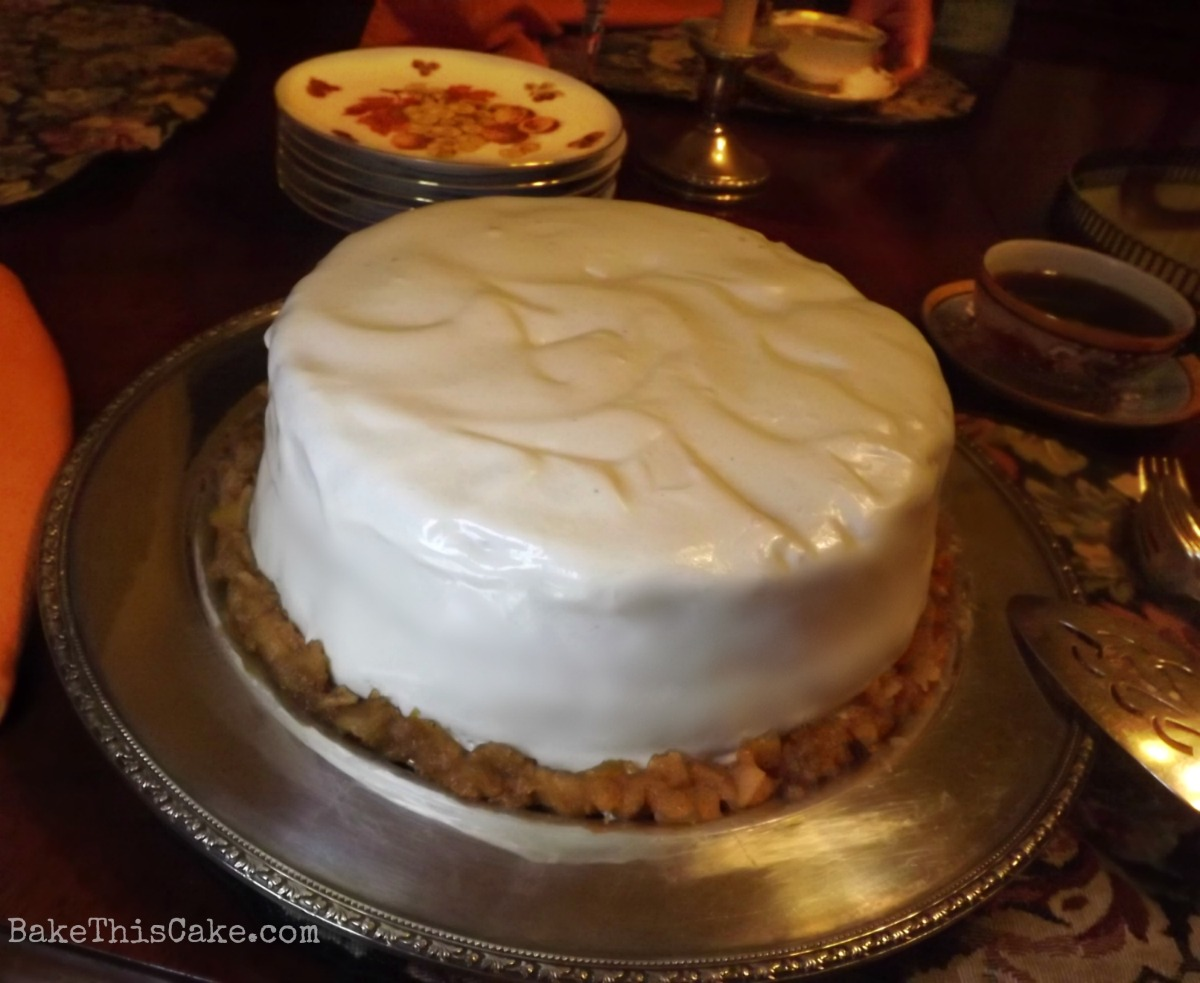 Applejack Cake - A Vintage Sour Cream Spice #Cake Recipe with Apple Pie Filling and a Silky Sour Cream Frosting