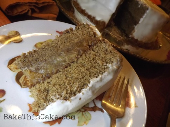 Applejack Sour Cream Spice Slice on an autumn plate Bake This Cake