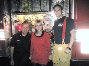 Leslie with the fire fighters
