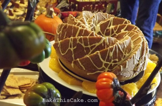 Roasted Pumpkin Spice Cake side close shot on buffet table Bake This Cake