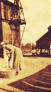 Turn of the century farm wife doing laundry on the ranch Leslie Macchiarella