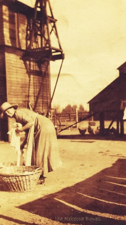 Turn of the century farm wife doing laundry on the ranch Leslie Macchiarella