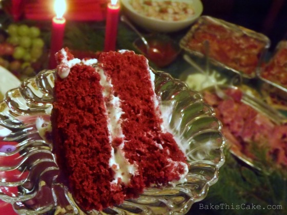 Red Velvet Cake slice by the buffet Bake This Cake