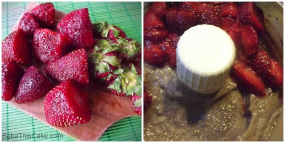 Strawberries pureed with beets for redvelvet collage Bake This Cake