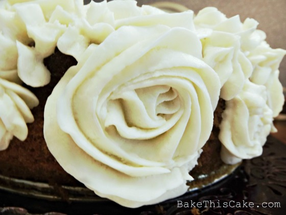 Custard Frosting Rose Close up on side of Boston Cake Bake This Cake
