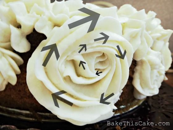 Custard Frosting Rose Close up with arrows Bake This Cake