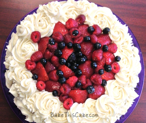 Boston Cake with fruit and frosting overhead BakeThisCake